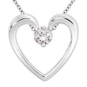 Jewelry - Gorgeous Round Cut Diamond Heart Pendant White Gol